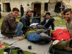 Pakistani and Afghan refugees near Hungarian border