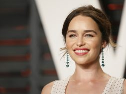 Actress Emilia Clarke arrives at the Vanity Fair Oscar Party in Beverly Hills