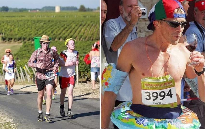 Učesnici francuskog maratona trče, piju vino i jedu sir