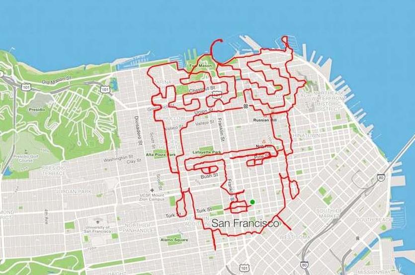 Od Fride Kahlo do Betmena: Amerikanac od ruta za trčanje pravi crteže na mapi grada