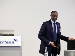FILE PHOTO: CEO Thiam of Swiss bank Credit Suisse awaits a news conference to present full-year results in Zurich