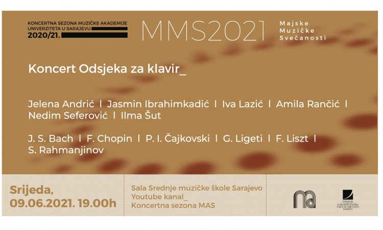 Koncert studenata Odsjeka za klavir Muzičke akademije Sarajevo