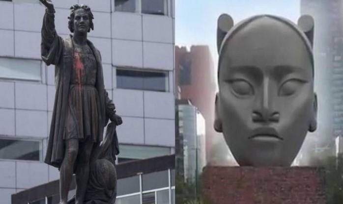 Statua autohtone stanovnice Mexica umjesto statue Kolumba